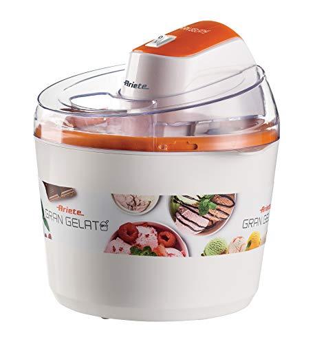 Ariete 642 Heladera eléctrica gran gelato, 1.5 litros, tapa transparente, cubeta con doble aislamiento, botón encendido/apagado, blanco naranja