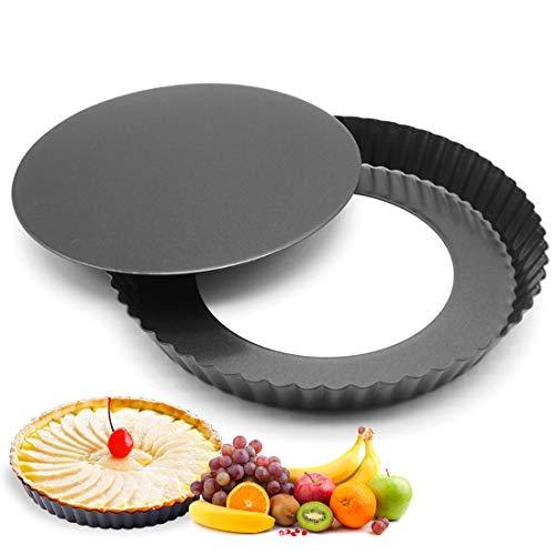 Quiche Tart Pan Antiadherentes, Extraíble Loose Bottom Tart Pie, Round Tart Quiche Pan con Base Desmontable, 22cm