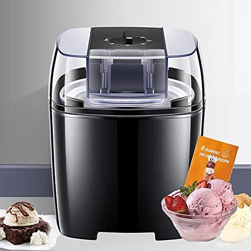 Heladera para helados, postres preparados en 15-30 minutos, 1,5 l, helado suave para el hogar con botón giratorio, máquina para helados, yogur helado y sorbete, incluye recetas