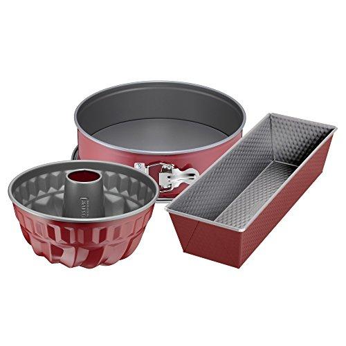 Kaiser Classic Plus Juego de 3 moldes para hornear, molde desmontable de base plana, molde concéntrico, molde alargado, antiadherentes, color rojo