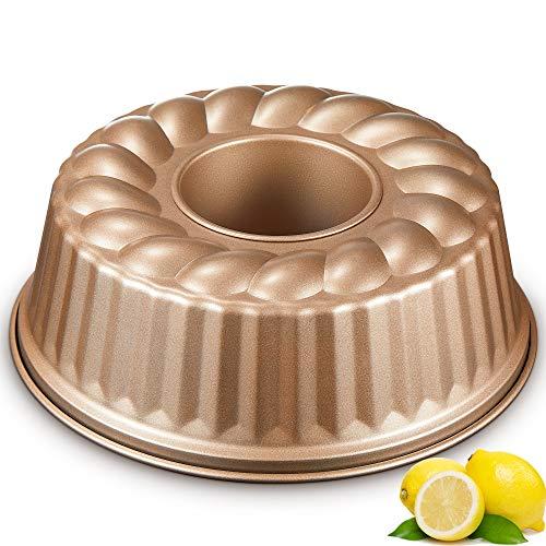 DEIK Molde Savarín Ø24 cm, Metallic Moldes Bundt Cake, Molde Bizcocho Redondo, Revestimiento Antiadherente con Acero al Carbono - Oro Champagne