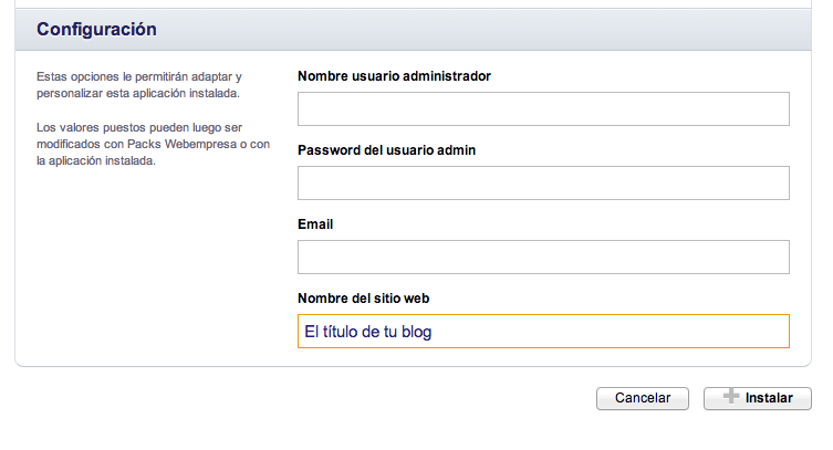 Crear blog en wordpress con cPanel paso 3