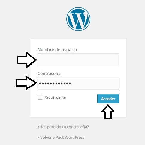 Acceso blog en WordPress