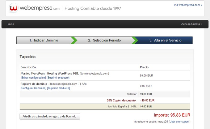 Hosting webempresa pedido