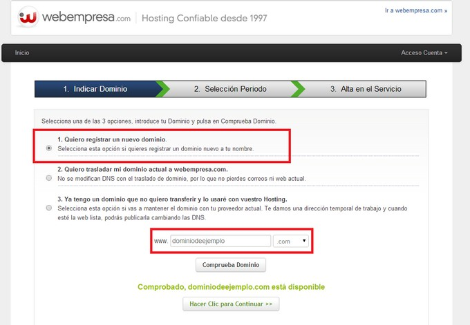 Hosting webempresa registro