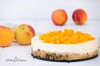 Tarta fría de melocotón y queso - Dulcespostres.com