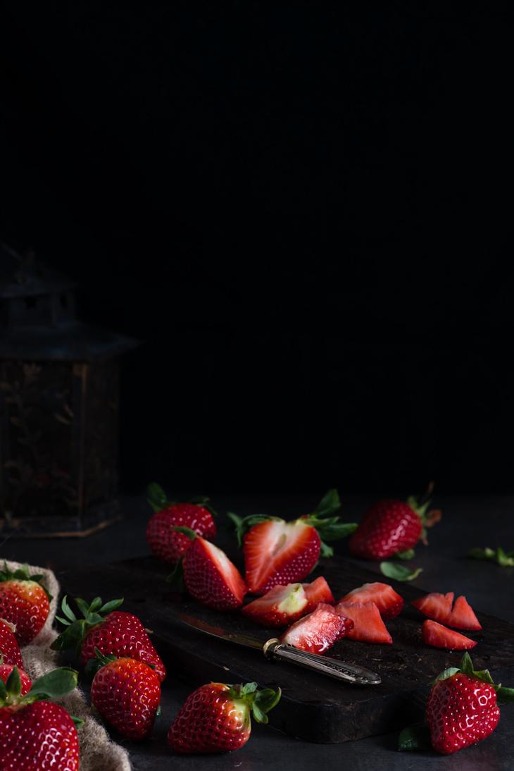Fresas troceadas para batido de fresas