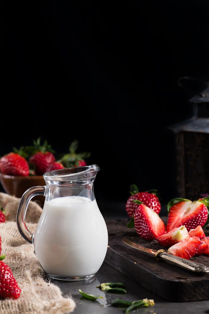 Ingredientes para el batido de fresa
