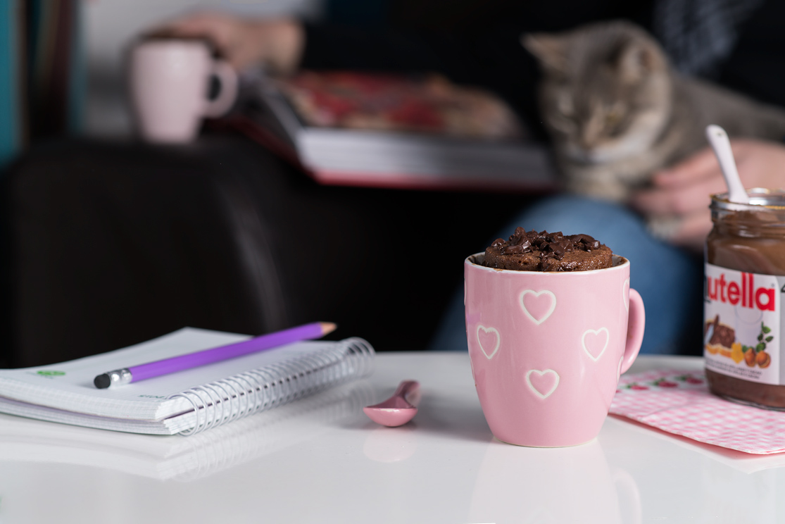 Receta de mug cake de Nutella